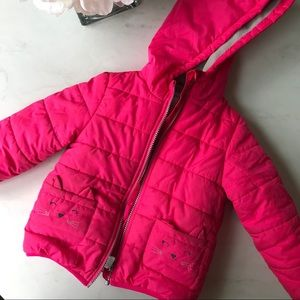 Pink winter jacket with kitten pockets 4T